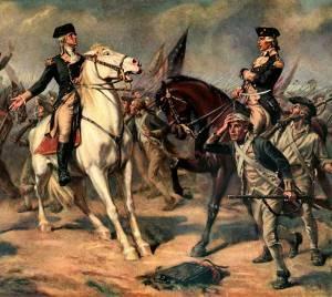 Print, reproduction of Washington at the Battle of Monmouth. Original by John Ward Dunsmore.